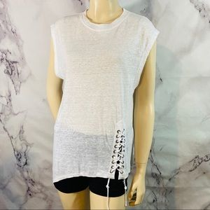 IRO sleeveless lace-up asymmetrical t-shirt sz XS